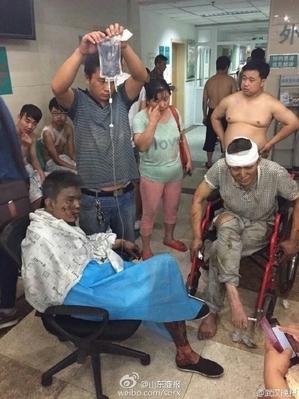 爆発事故による被害者 (ネット写真)