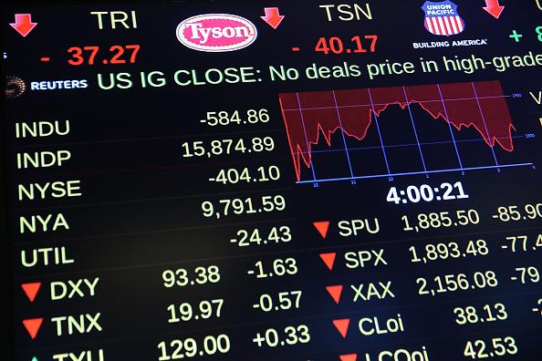 中国経済失速が世界金融市場に激震を与えている。8月24日NY証券取引所 (Spencer Platt/Getty Images)