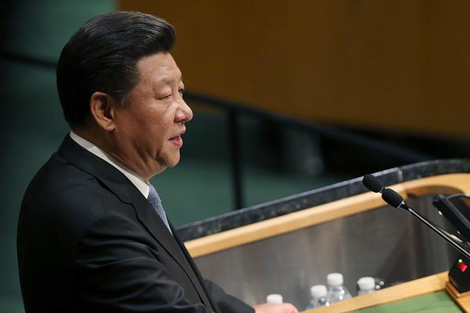 国連総会で演説する習近平国家主席。9月28日NY国連本部 (Spencer PlattGetty Images)