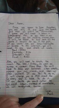 エステラさんが13歳の息子へ送った手紙(Facebookより)