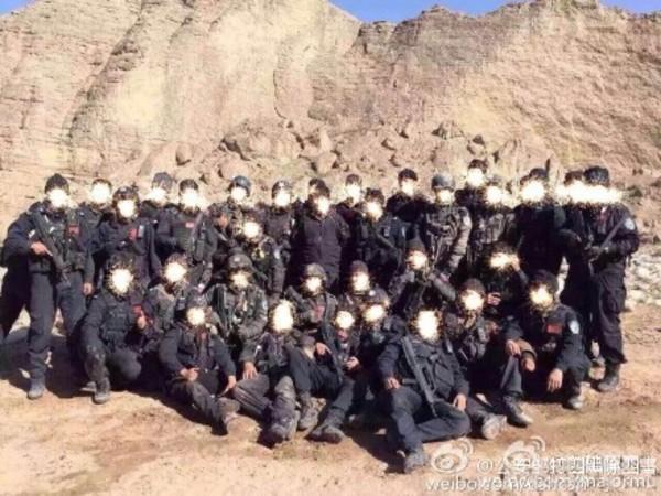 武装警察の写真(中国公安部の公式微博より)