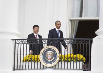 2015年9月25日、訪米した習近平主席とオバマ大統領。ワシントンDCのホワイトハウスで(Chris Kleponis-Pool/Getty Images)