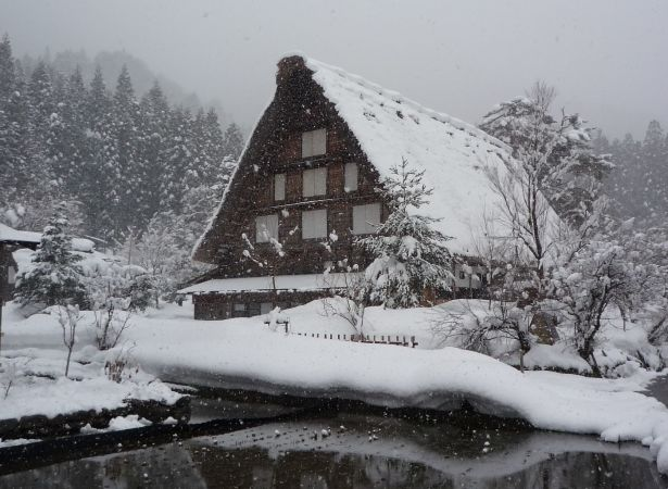 合掌造り雪化粧(まさ恵撮影)