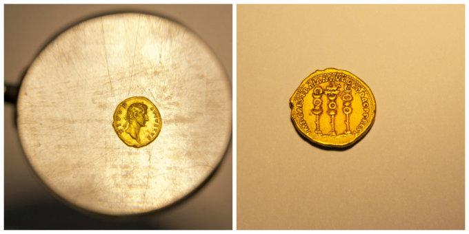 2000年前につくられた金貨、散策中に偶然発見。イスラエル考古学庁が提供(AP Photo/Ariel Schalit)