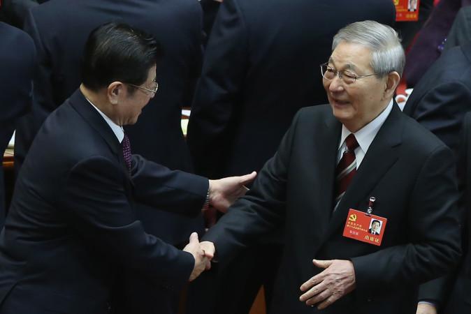2012年11月の中国共産党第十八次全国代表大会に参加した当時の朱鎔基元首相 (Feng Li/Getty Images)