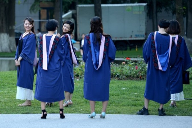 中国北京の大学生 (WANG ZHAO/AFP/Getty Images)