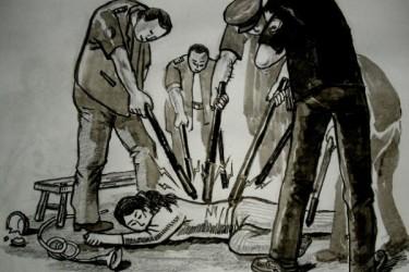 高圧電流を収監者の身体に放電する拷問「電撃」再現イラスト(法輪功学習者が作成)