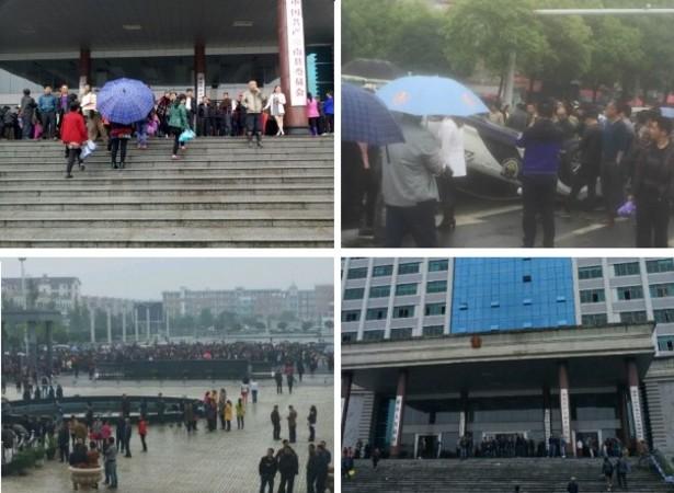 ゴミ焼却発電計画を反対する代表が拘束されたことで、住民数万人が県政府の建物へ詰めかけ抗議した(ネット写真)