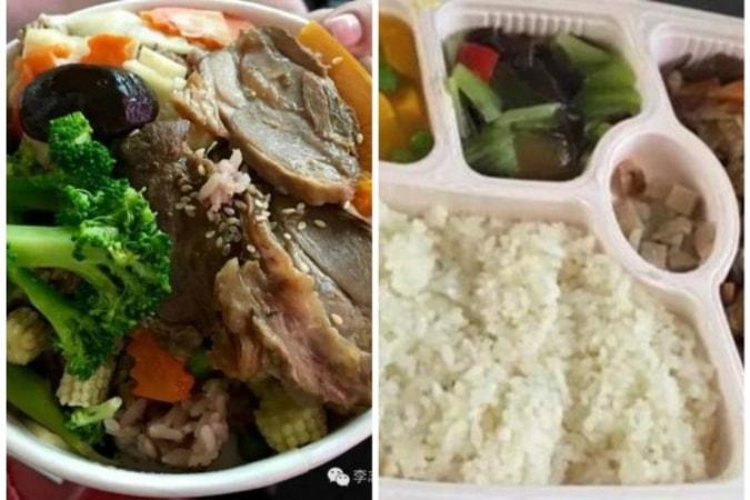微信(ウィーチャット)アカウント@李志題さんは台湾鉄道弁当「安くておいしい」と絶賛した。台湾鉄道弁当と中国高速鉄道弁当の比較写真 (ネット写真)