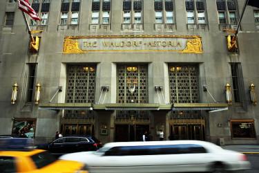 米ニューヨークにある高級ホテルのウォルドルフ=アストリア(Spencer Platt/Getty Images)