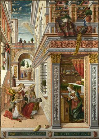ルネサンス初期の画家カルロ・クリヴェッリが描いた「受胎告知」(Wikimedia Commons)