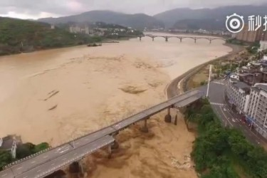 7月9日、大型の台風1号が中国福建省に上陸し、暴風雨による洪水を引き起こした。最も甚大な被害を受けたのは福建省閩清県坂東鎮(ネット写真)