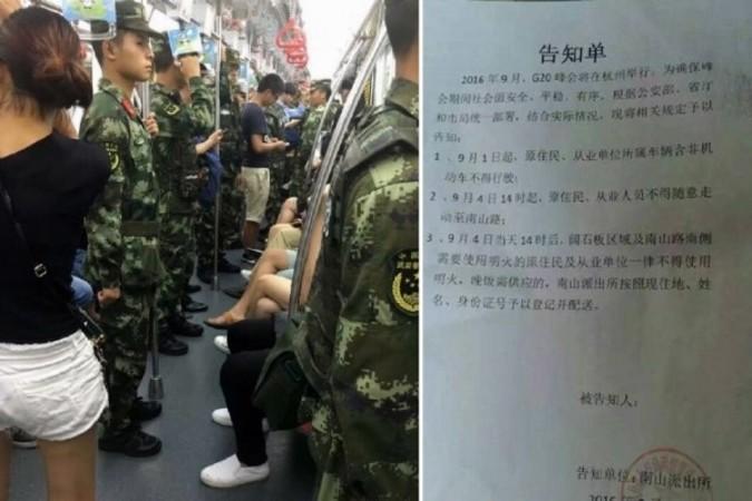 左:地下鉄車両内、厳重な警戒模様 右:火使用禁止の通達(ネット写真)