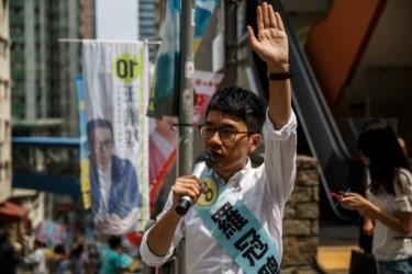 9月4日に行われた香港立法会選挙で、初当選を果たした「雨傘運動」元リーダーの羅冠聡氏(ANTHONY WALLANCE/AFP/Getty Images)