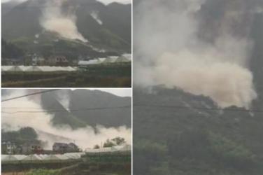 中国大陸に上陸した大型台風17号(アジア名:メーギー、鯰魚)は、浙江省麗水市で土砂崩れを起こし、これにより33人が行方不明になっている。(ネット写真から作成)