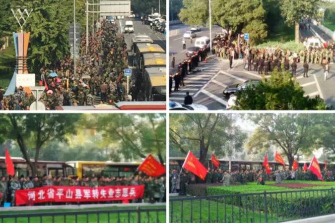 10月11日、千人以上の人民解放軍の元軍人らが軍中枢機関前で退役後の待遇問題について大規模な抗議活動を行った。(ネット写真)