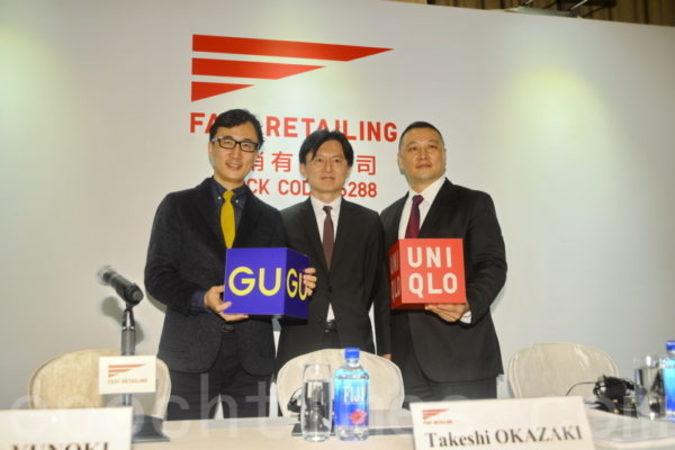 左から右まで、GUの柚木治社長、ファーストリテイリング最高財務責任者の岡崎健氏、ユニクロ大中華圏CEOの潘寧氏。(宋祥龍/大紀元)