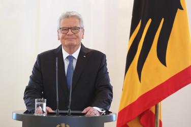 演説するヨアヒム・ガウクドイツ連邦大統領(Sean Gallup/Getty Images)