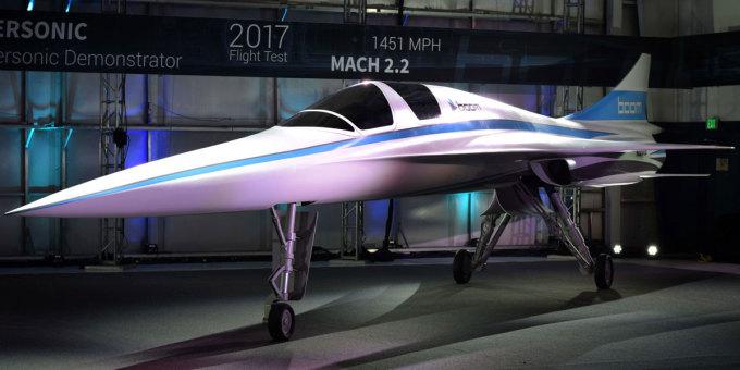 ベンチャー企業「Boom」は、コンコルド型の小型旅客機を開発。写真は2017年末に飛行予定のテスト機「XB-1」(Boom)