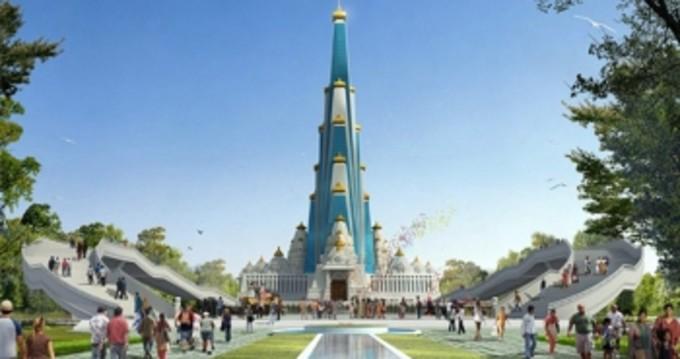 世界で最も高い宗教な建物になるVrindaVan Chandrodaya Mandirの完成予想図(vcm.org.in)