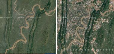 著しいスピードの開発で、都市化した中国重慶。 左の図は1984年、右図は2016年。中央を流れる川は嘉陵江(Google Earth Engineスクリーンショット)