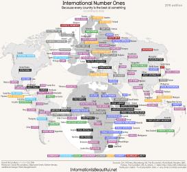 世界各国の、あらゆる分野の世界一を表示させたデータマップ「Interenational Number One」(InformationIsBeautiful.net)