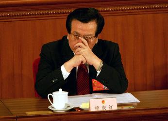 2005年3月、北京の人民大会堂での会議に出席する曽慶紅・副主席(当時)(Cancan Chu/Getty Images)
