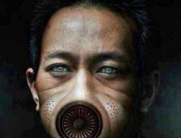 大気汚染にあえぐ中国人が描いた「スモッグ人」。一向に改善が見られない環境被害に、国民たちは不満を募らせている(ネット写真)