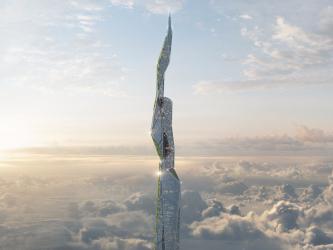 スモッグを食べるという4800メートルもの超高層ビルが、3Dプリント技術を駆使して建築される。2062年の完成予想図(arconic)