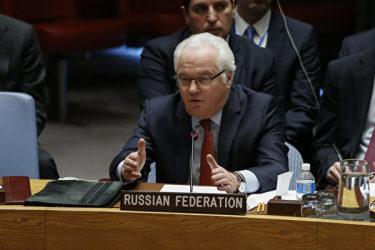 2016年12月31日、国連安全保障理事会で発言するチュルキン大使(KENA BETANCUR/AFP/Getty Images)