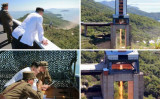 19日、新型エンジンの実験を見つめる金正恩・朝鮮労働党委員長(NEWSIS)