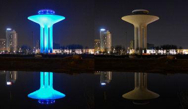 2016年のアースアワーに参加したスウェーデン第3都市マルメ(Malmö)。消灯前と消灯後の写真(JOHAN NILSSON/TT/AFP/Getty Images)