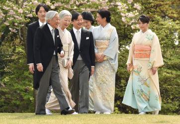 春の園遊会が20日、東京の赤坂御苑で開かれた。天皇皇后両陛下と皇室方(GettyImages)