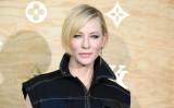米演劇界最高栄誉のトニー賞主演女優賞候補となったケイト・ブランシェットさん。4月11日、パリのルイ・ヴィトンの新作コレクション発表に姿を見せた(GABRIEL BOUYS/AFP/Getty Images)