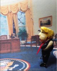 ポップコーンに色付けして作ったトランプ大統領(スクリーンショット)