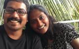 夫のサポートは100%。シャリニさんを常に後ろから支える(Shalini Saraswathi/Facebook)