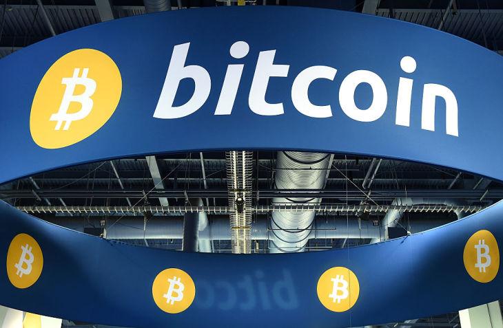 2015年1月に米ネバダ州ラスベガスで開かれた見本市で設置されたビットコインのブース(Ethan Miller/Getty Images)