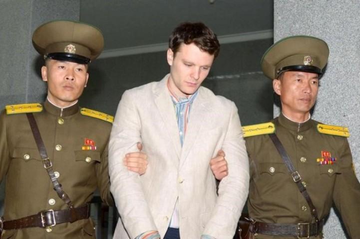 1月初めから北朝鮮に拘留されていたバージニア大学のオットー・フレデリック・ワームビエ氏が死亡した。2016年3月16日に北朝鮮の平壌(ピョンヤン)で撮影 (REUTERS/Kyodo)