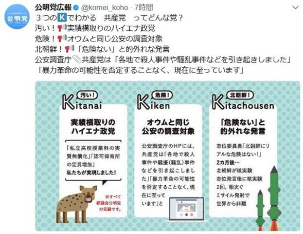公明党広報の公式アカウントは、「汚い」「危険」「北朝鮮」と共産党に対して激しい口調で3K批判(スクリーンショット)