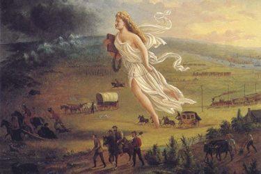 ジョン・ガストの最も有名な絵画「アメリカの進歩」(1872)。聖書を手にする女神。アメリカの西洋美術の精神を示す芸術作品の一つ(Wikipedia)