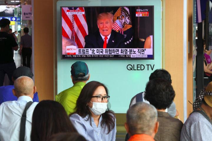 シカゴ国際問題評議会は最近の調査で、北朝鮮問題に対して武力行使を支持すると米共和党支持者の5割が回答(JUNG YEON-JE/AFP/Getty Images)