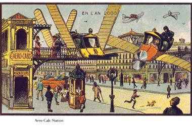 空飛ぶタクシー。タクシー乗り場が空中にある(ウィキペディア)
