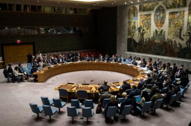 米ニューヨークの国連本部で9月11日、国連安全保障理事会が開かれ、水爆実験を強行した北朝鮮に対する追加制裁決議案が全会一致で可決した(Drew Angerer/Getty Images)