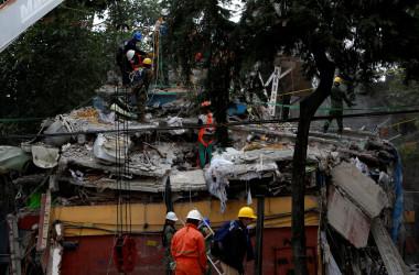 9月20日、メキシコ中部を震源とするマグニチュード(M)7.1の地震の発生から1日が経過し、メキシコ国内での死者数は230人を超えた。首都メキシコ市では少なくとも93人が死亡。現在も、救助犬や重機を使って倒壊した建物の下敷きになった人々の救出・捜索活動が続いている。写真はメキシコシティで撮影(2017年 ロイター/Carlos Jasso)