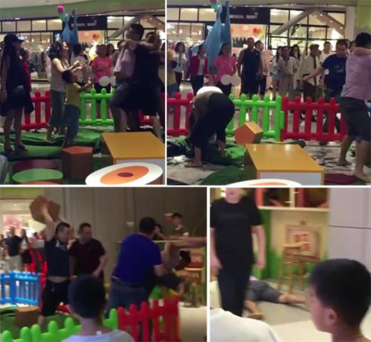 深圳市のショッピングモールで子どもの前で乱闘を繰り広げる親たち。(ネット写真)
