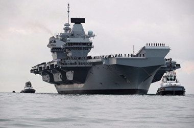イギリス空母クイーン・エリザベス号。(イギリス海軍Twitter)