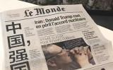フランス紙ルモンドは15日、一面に「中国強国崛起」の中国語を掲載。一見、中国賞賛記事と見まがうが、中身は中国共産党を批判するもの。題は風刺だとわかる(Internet Graphic)