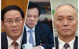 習近平国家主席の側近の李強氏がこのほど上海市トップに就任した。写真は李強氏(左)と、陳敏爾・重慶市党委員会書記(中)、蔡奇・北京市党委員会書記(右)。(大紀元による合成写真)