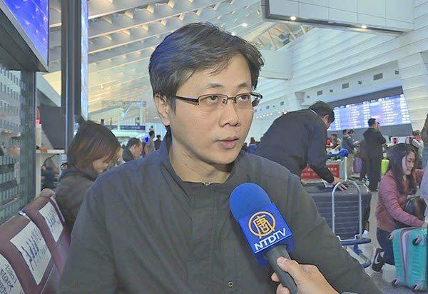 台湾の桃園空港に強制送還された男性(スクリーンショット)