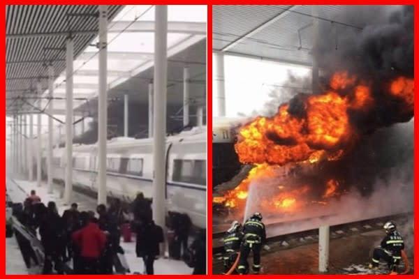 25日、中国沿岸部の(山東省)青島駅発ー(浙江省)杭州駅行きの高速鉄道で火災が発生した。約千人の乗員乗客が緊急避難した。(スクリーンショット)